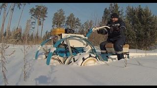 getlinkyoutube.com-Мотобуксировщик  Часть 7  По глубокому снегу
