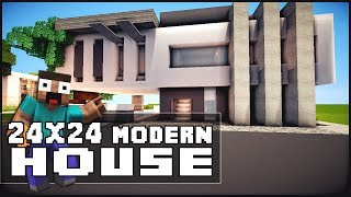 getlinkyoutube.com-Minecraft House Tutorial: 24x24 Modern House