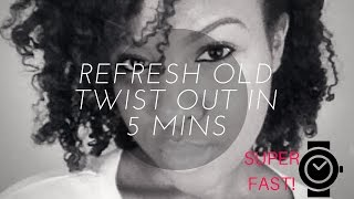 getlinkyoutube.com-Refresh Old Twist Out in 5 Minutes! | bouncy curls without retwisting