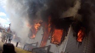 getlinkyoutube.com-Highland Park Helmet cam fire in an occupied on Avalon