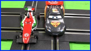 getlinkyoutube.com-Disney Pixar Cars Lightning McQueen Carrera Go Slot Cars Carbon Racers