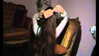 getlinkyoutube.com-Long hair play brushing on the sofa