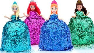getlinkyoutube.com-DIY How Make Super Glitter Play Doh Disney Princess Dresses Frozen Elsa Ariel Anna MagiClip Play Doh