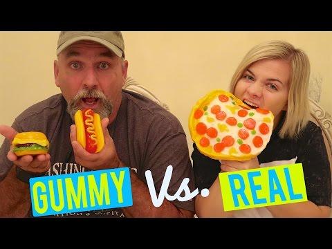 GUMMY FOOD vs REAL FOOD CHALLENGE! W/ MY DAD!