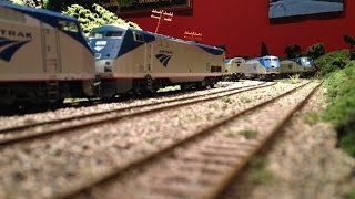 getlinkyoutube.com-Running Some of My HO Scale Amtrak Trains on My New Layout