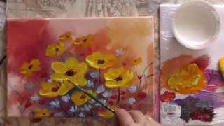 getlinkyoutube.com-Рисуем акрилом цветы.  Спонтанный букет. Draw acrylic flowers.