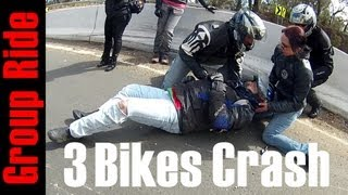 getlinkyoutube.com-3 Bikes Crash on Group Ride - Sydneys Riders