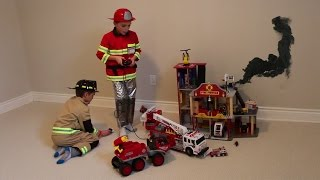 getlinkyoutube.com-Boys playing with Firefighter Toys and Fire Station!