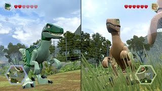 getlinkyoutube.com-LEGO Jurassic World - Velociraptor vs Velociraptor - CoOp Fight | Free Roam Gameplay [HD]
