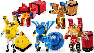 getlinkyoutube.com-Cube Transformer Warriors Square Circle Triangle Cylinder Hexagon FiveForm Robot Transformation