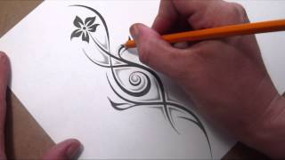 getlinkyoutube.com-Drawing a Tribal Flower and Stem With a Little Shading