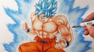 getlinkyoutube.com-Drawing Goku ULTRA Super Saiyan BLUE | Drawing BATTLE VS  DIBUJAME UN, TOLG ART and MULA DRAWS