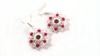 getlinkyoutube.com-Beading4perfectionists: Red star earring with Swarovski chaton beading tutorial