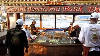 Balik-ekmek (Fish Sandwich) boat in Istanbul, Turkey