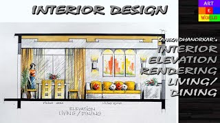 getlinkyoutube.com-Manual Rendering | 2D Interior Design Elevation | Drawing | Tutorial Demo | Watercolour | Techniques