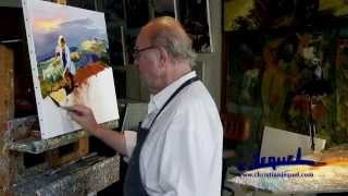 "getlinkyoutube.com-01-Demonstration of knife painting by Christian Jequel: ""Harvest"""