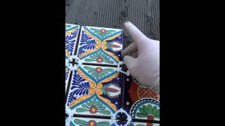 getlinkyoutube.com-DIY table with mexican tiles over wood using modified thin set - Full video