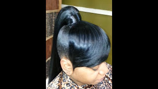 getlinkyoutube.com-High genie ponytail and bang quick weave