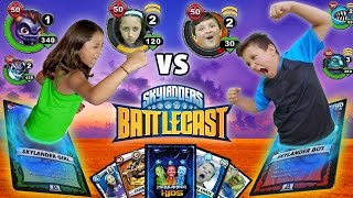 getlinkyoutube.com-REAL LIFE SKYLANDERS BATTLECAST FIGHT w/ Magic Cards!!