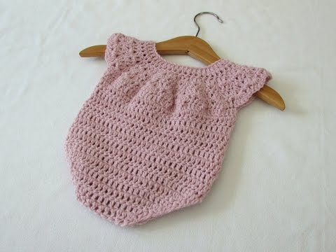 How to crochet a cute baby girl's romper / onesie