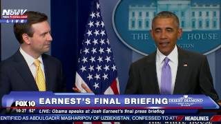 getlinkyoutube.com-SURPRISE: President Obama Pays TRIBUTE to Josh Earnest at His FINAL White House Daily Press Briefing