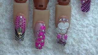 getlinkyoutube.com-Uñas Estilo Sinaloa y Flor exotica en 3d - Bling Bling Pink Nails