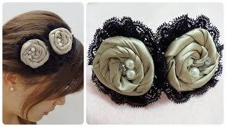 getlinkyoutube.com-Diy flower headband, fabric rosettes tutorial,satin rose headband