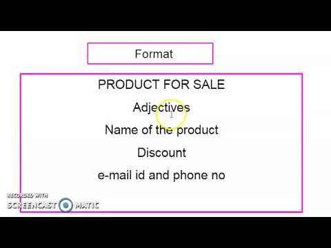 ENGLISH (Advertisement Writing)