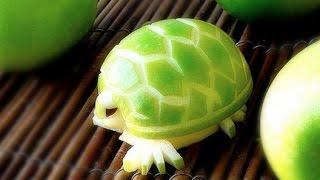 getlinkyoutube.com-How To Make an Edible Apple Turtles - Fruit Carving Garnish - Party Garnishing - Food Decoration