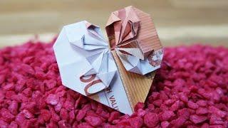 getlinkyoutube.com-Geldschein falten Herz ❤️ Geldgeschenk zur Hochzeit, DIY Origami Tutorial Deutsch #TrauDirWasZu