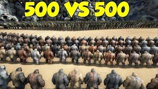 getlinkyoutube.com-Ark Survival Evolved 500 Carnotaurus vs 500 Gigantopithecus! Massive Fight!