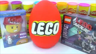 getlinkyoutube.com-Giant Lego Play-Doh Surprise Egg with Minecraft Marvel and Transformer Toys