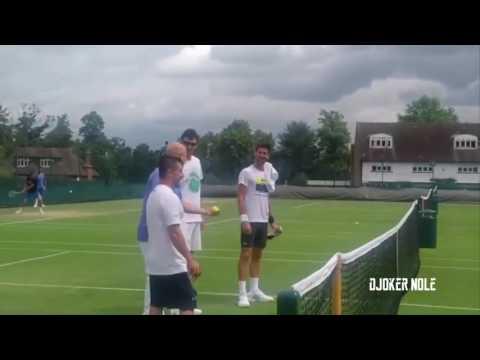 Novak Djokovic, Andre Agassi FUNNY GAME - Wimbledon 2017