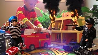 getlinkyoutube.com-FIRE FIRE Again?! Call the Kid Police and Fireman.  Bad guys up to no good.
