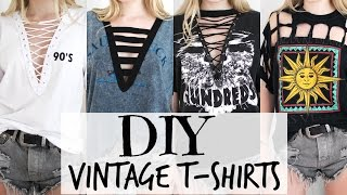 getlinkyoutube.com-DIY Vintage T-Shirts + Lace Up Tee