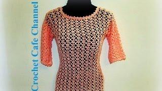 getlinkyoutube.com-كروشيه بلوزة صيفي   #كروشيه كافيه#Crochet Cafe
