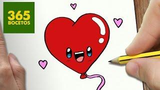 getlinkyoutube.com-COMO DIBUJAR GLOBO CORAZON KAWAII PASO A PASO - Dibujos kawaii faciles - How to draw a heart