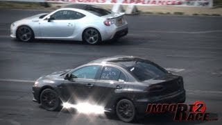 getlinkyoutube.com-Turbo BRZ Subaru vs EVO X GSR Drag Race