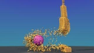 getlinkyoutube.com-Keva planks tower loud demolition - Blender Bullet Physics Engine