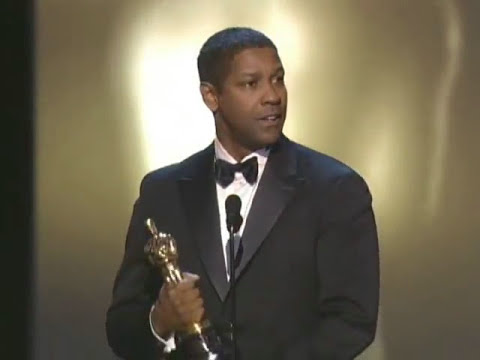 Denzel Washington winning an Oscar for 