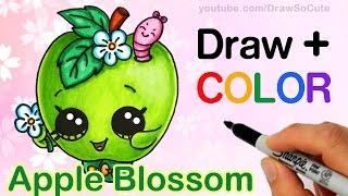 getlinkyoutube.com-How to Draw + Color Shopkins Apple Blossom step by step Cute