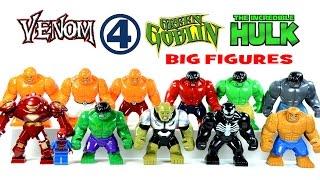 getlinkyoutube.com-LEGO Green Goblin Venom Hulk The Thing & Iron Man HulkBuster KnockOff Big Minifigures