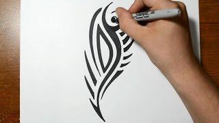 getlinkyoutube.com-How to Draw a Cool Tribal Tattoo Design - Sketch 1