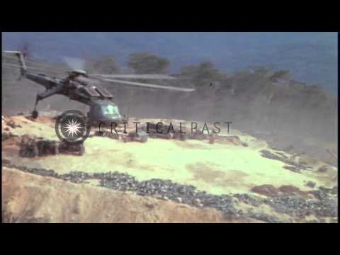 CH-54 of the US Army 160th Combat Aviation Group delivers 155mm howitzer to FSB W...HD Stock Footage