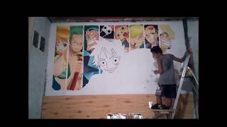 getlinkyoutube.com-SPEED-WALL PAINTING : MURALES OF ONE PIECE ART by PIRATE'S BURGER