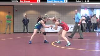 getlinkyoutube.com-55 kg QF - Brie Grimes (Missouri Valley) vs. Cassidy Jasperson (OKCU)