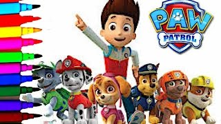 getlinkyoutube.com-Disney Paw Patrol Coloring Book Pages Chase Ryder Marshall Rubble Skye Zuma Rocky Kids Balloons Toys