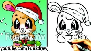 getlinkyoutube.com-How to Draw Santa Bunny for Christmas (Real Time Drawing Tutorial) - Art Lessons - Fun2draw