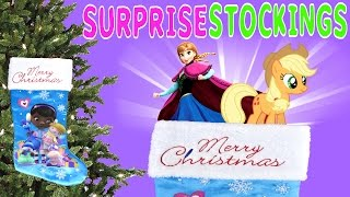 getlinkyoutube.com-Doc Mcstuffins Disney Stocking Surprises Princess My Little Pony Frozen Hello Kitty Toys DCTC
