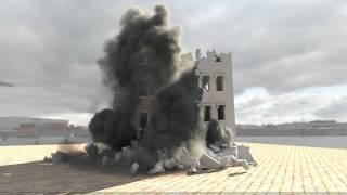 getlinkyoutube.com-Building demolition: adding smoke with Phoenix FD test02